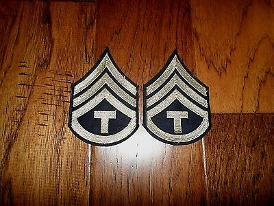 1 PAIR ORIGINAL US ARMY WWII TECH SERGEANT STRIPES SILVER ON BLACK TWILL PATCHES Army Sergeant Stripes