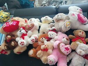 Various stuffed animals and characters