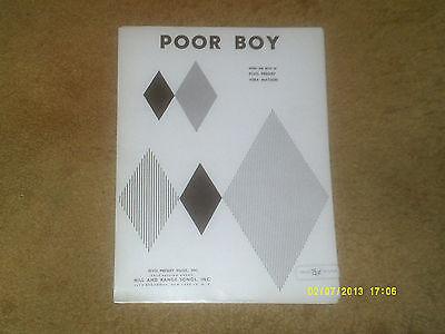 Elvis Presley sheet music POOR BOY from film LOVE ME TENDER 1956 5 pp. NM shape