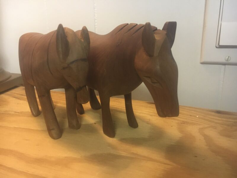 Pair Of Vintage Wooden Hand Carved & Painted Donkey / Burros. Folk Art.