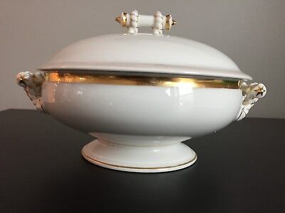 Haviland Limoges White Gold Covered Dish Tureen Vegetable Bowl Wedding Ring Rope