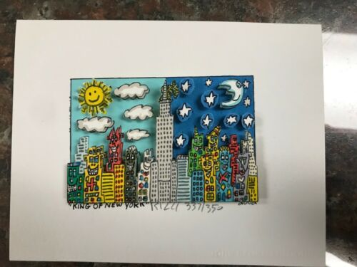 """James Rizzi 3-D Artwork """" King of New York """" Signed & Numbered 2002 Limited Ed"""