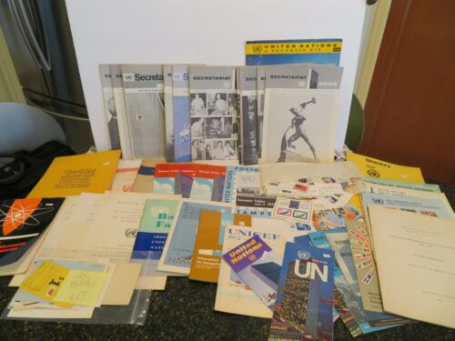 LOT OF EPHEMERA  UNITED NATIONS ITEMS   45 ASSORTED ITEMS STAMPS MAGS SMALLS