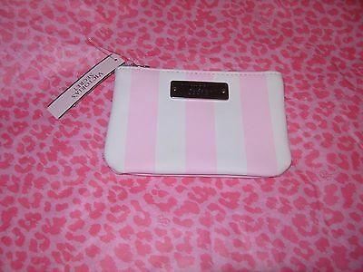 Victorias Secret Coin Purse Credit Card Mini Wallet With Key Chain Stripe Nwt