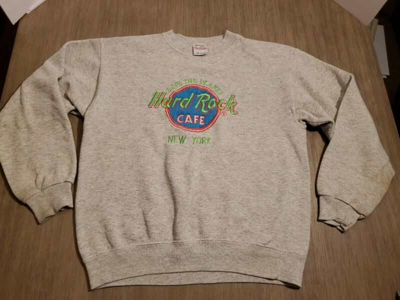 Vtg Hard Rock Cafe Gray SAVE THE PLANT Sweatshirt Neon Embroidery Sz Large NY