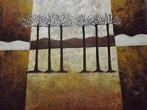 quadro su parete marrone olio su tela : su Dipinto Quadro Astratto Alberi Bianco Marrone Panna Olio Su Tela ...