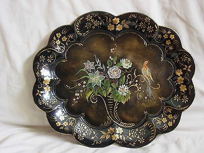 Antique Hand Painted Flowers and Bird Primitive Metal Tole Tray