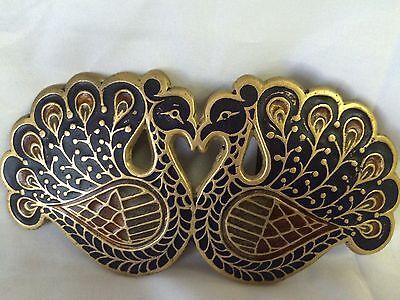 Peacock Multicolored Brass Belt Buckle Vintage