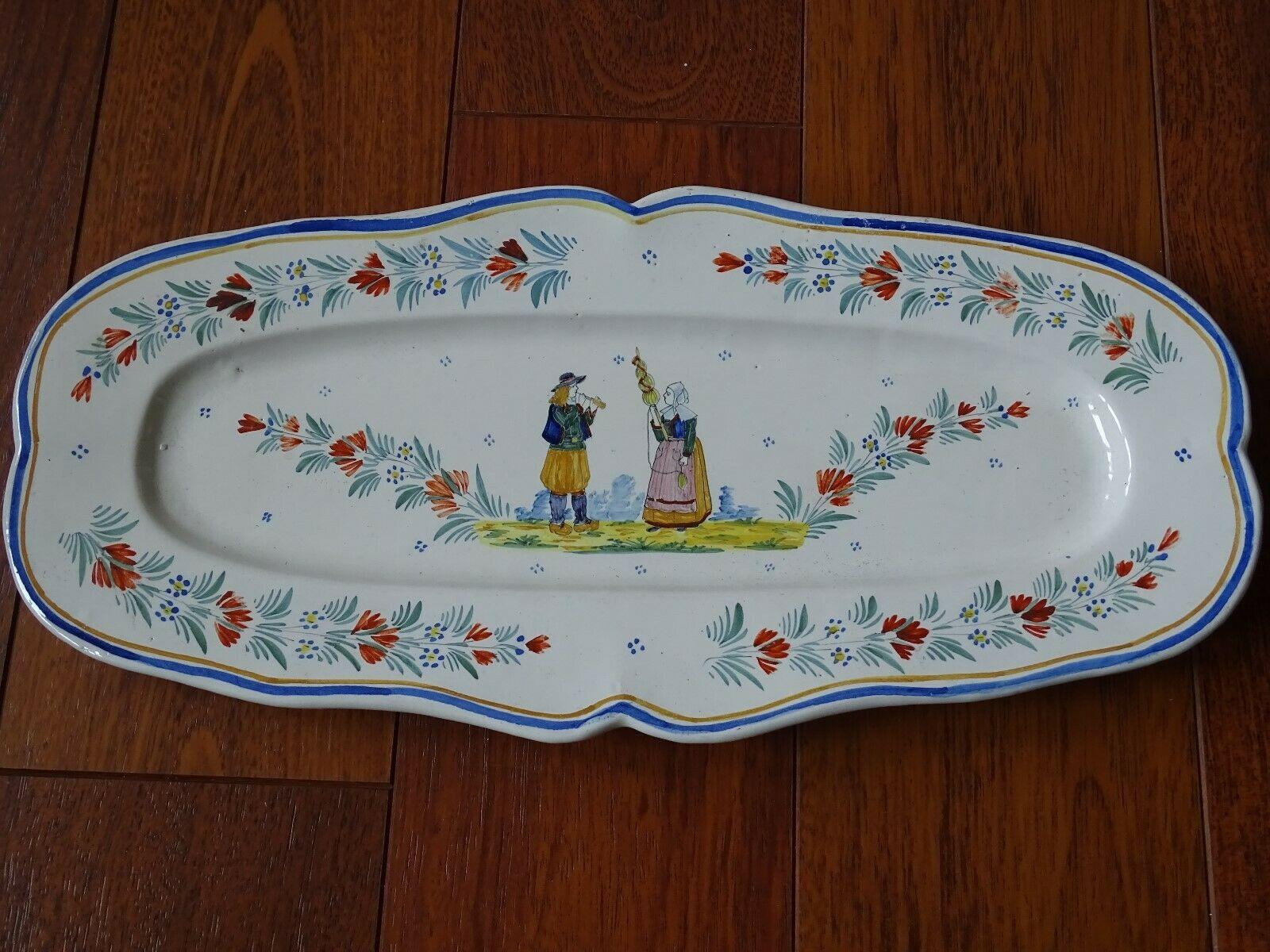 """VINTAGE PLATER DISH FRENCH FAIENCE HR QUIMPER circa 1910s' lenght 19,3"""""""