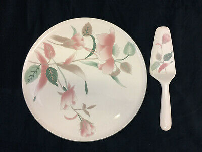 Mikasa Silk Flowers Pattern Cake Plate and Solid Cermanic Server Set Vintage