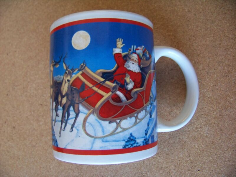 Santa Claus and sleigh ceramic mug coffee cup Christmas Xmas