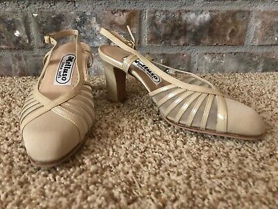 Melluso 33.5 Tan Patent/Fabric Pumps Heels Shoes~Made in Italy Fabric Heels Shoes