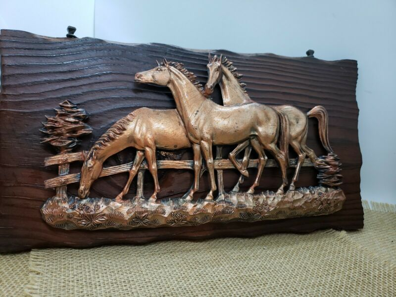 vintage charred carved wood plaque with horses  ranches western horse riding  #3