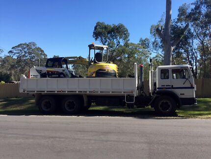 Earthmoving... Tipper, excavator and bobcat combo