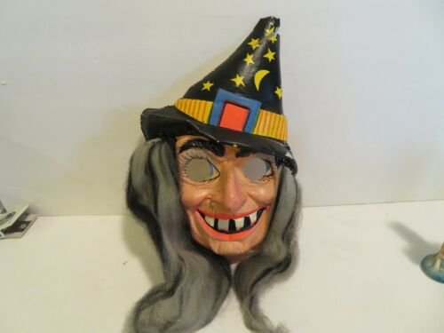 Ben Cooper Hairy Scary Vintage Plastic Witch/wizard  Mask original 69 cent tag