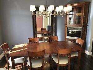 Dining room table & corner fireplace cabinet