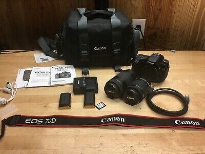 PACKAGE Canon EOS 70D W w/ EFS 18-55mm & EFS 55-250mm Lenses, Case, SD ,& More!