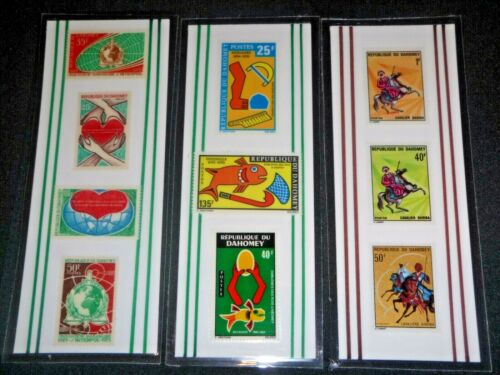 3 BOOKMARKS ~ DAHOMEY Laminated POSTAGE STAMPS  ~ AWESOME! BENIN AFRICA