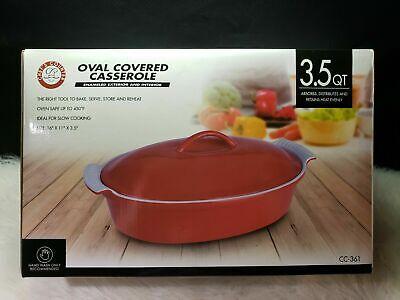 Chefs Counter Oval Covered Casserole w Lid 3.5 QT Stoneware Red White Non-Stick  Non Stick Covered Casserole