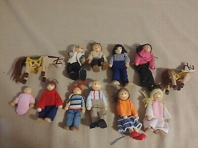 WOODEN DOLL HOUSE FIGURE People Lot 12 some marked Melissa & Doug