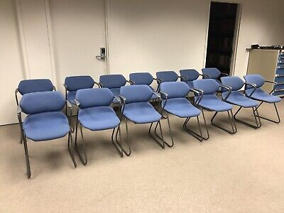 Vintage Acton Stacker Mid Century Modern Chrome Blue Stackable Chairs Set Of 14