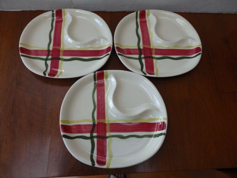"3 Vintage Mid-Century Purinton Slipware Normandy Plaid Lunch Plates 8 x 8 1/2"""