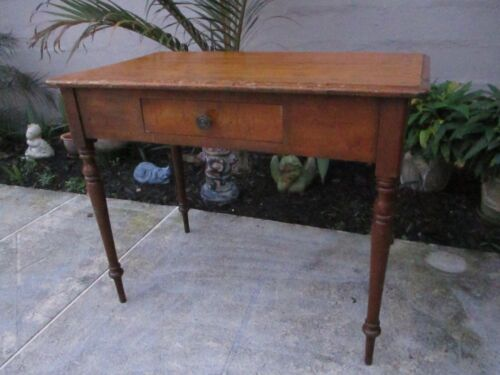 ANTIQUE PRIMITVE FARMHOUSE TABLE/DESK WITH DOVETAIL DRAWER FEDERAL STYLE LEGS
