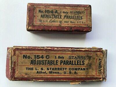 Vintage Starrett Adjustable Parallels Set Of 2 - 154-a  154-c