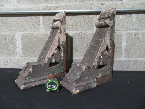 ~ PAIR ANTIQUE CORBELS WITH SCROLLWORK ~ 16 TALL ~ ARCHITECTURAL SALVAGE