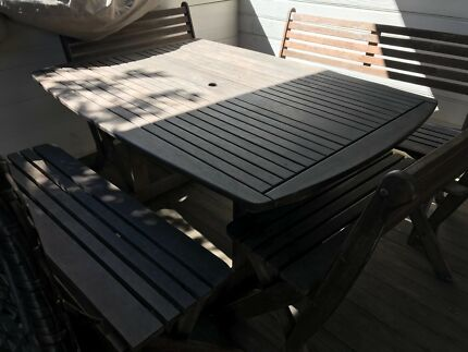 Wooden outdoor table and chairs seats 10 & Vintage mushroom table concrete 6 x stools fairy garden | Outdoor ...