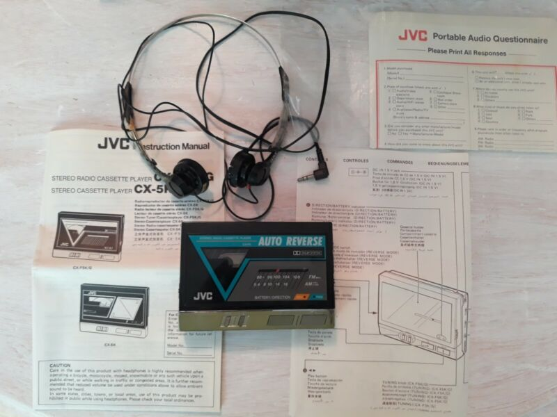 Vintage JVC CX-F5K Stereo Radio Cassette Player With Headphones And Manual....