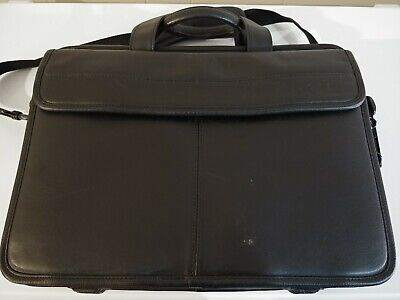 Genuine DELL Black Leather Executive Brief Case/Laptop Bag