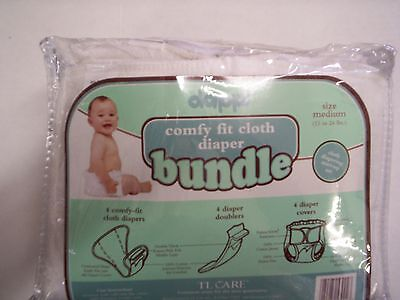 Cloth Diapers, White,  Cloth, 4 Covers, & 4 Doublers, By Dappi, Size Medium, New