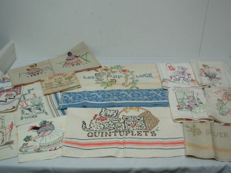 12 VINTAGE COTTON & LINEN KITCHEN DISH TOWELS w HAND EMBROIDERY ~ GREAT LOT!