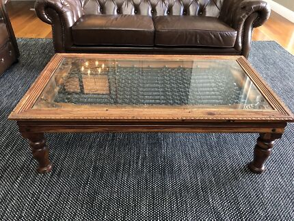 Timber Glass Wrought Iron Coffee Table