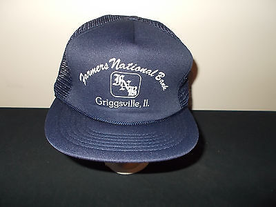 Vtg 1980S Farmers National Bank Griggsville Illinois Mesh Snapback Hat Sku25