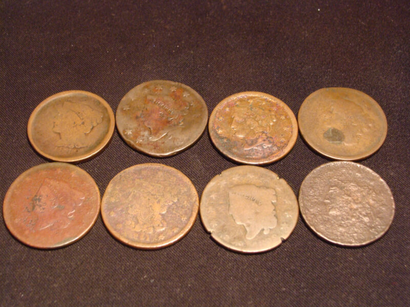 8 Old Large Cents Low Cost and Low Shipping!