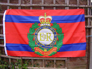 Royal Engineers RE Army Beret/Cap Badge On Stable Belt Colours Military Flag New