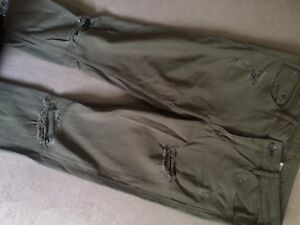 H&M Olive green distressed jeans