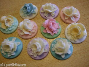 Resin intricate flower cabochons cameo style 18mm x10 vintage shabby chic (A96)