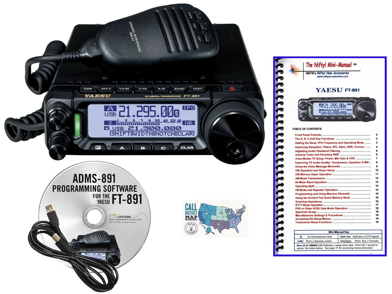 Yaesu FT-891 HF/6M Transceiver with Prog. Kit & Nifty! Accessories Mini- Manual