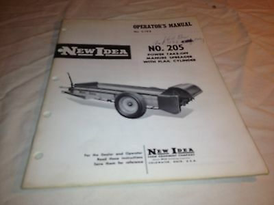 Operator Manual New Idea No. 205 Power Take Off Manure Spreader With Flail Cylin
