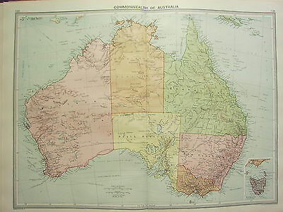 1920 LARGE MAP ~ AUSTRALIA ~ NEW SOUTH WALES VICTORIA QUEENSLAND TASMANIA