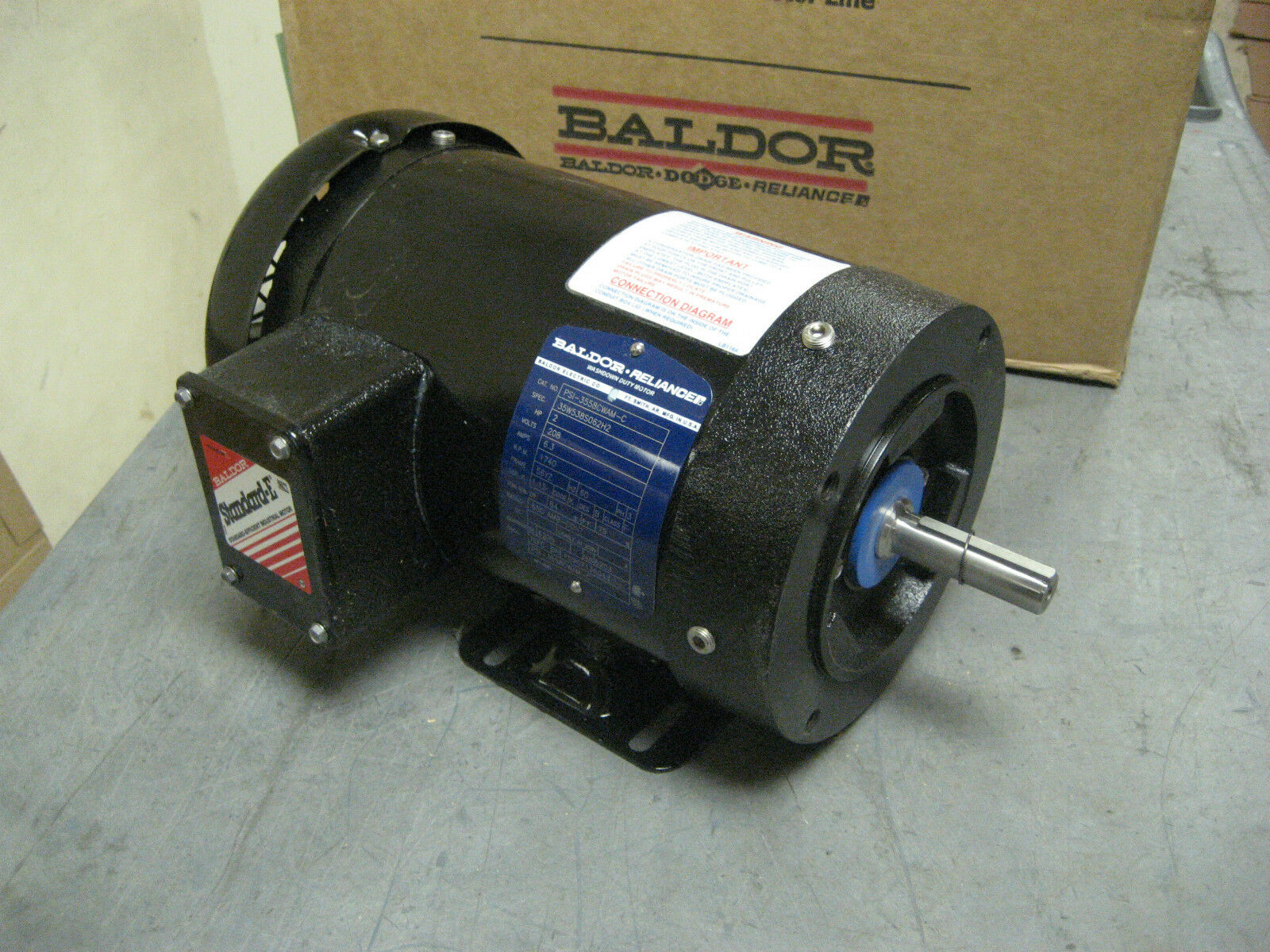 Baldor Reliance 2hp Ac Motor Washdown Duty 208vac 60hz
