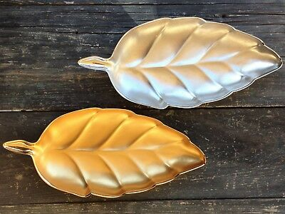 2 NEW MCM NAPIER BON BON LEAF SHAPE DISHES, RHODIUM, SILVER & GOLD, SATIN FINISH
