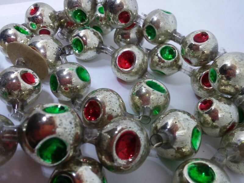 ❤ Vintage Mercury Glass Christmas Garland Triple Indent Reflector Beads German ?