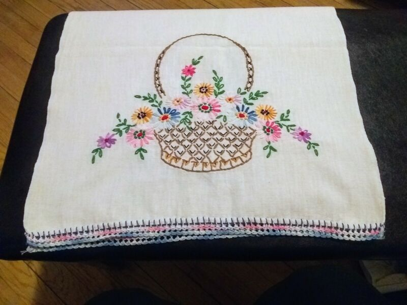 VINTAGE! Beautiful Embroidered Table Runner- Colors Pop!