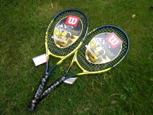 "Lot Of 2 Wilson Tour 110 Titanium Tennis Racquets,  4 1/2"" Blue/Yellow, NWT"