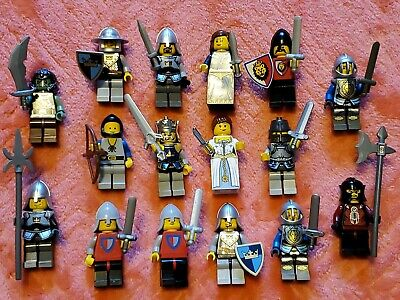 Lot 16 LEGO Minifigures Castle Kingdom Fantasy Royal Knight Queen Weapons NICE!