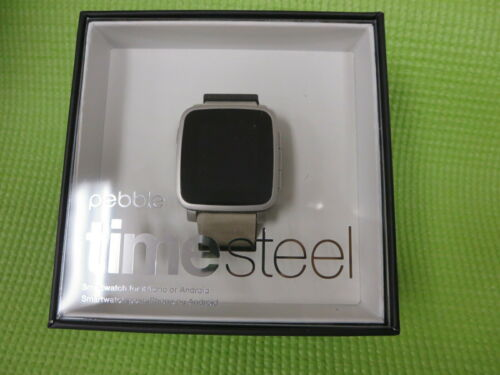 Pebble Time Steel Smartwatch 38mm Leather White PBSTLTM-SLV